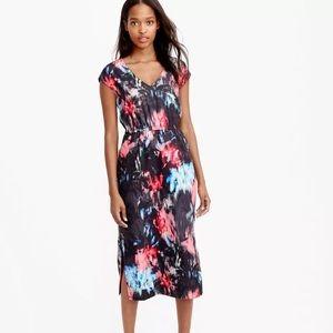 J.Crew crepe side slit dress in black floral crepe